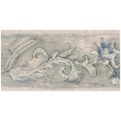 Norwall Baroque Scroll Blue Flower Prepasted Wallpaper Border, Multi #blueflowerwallpaper