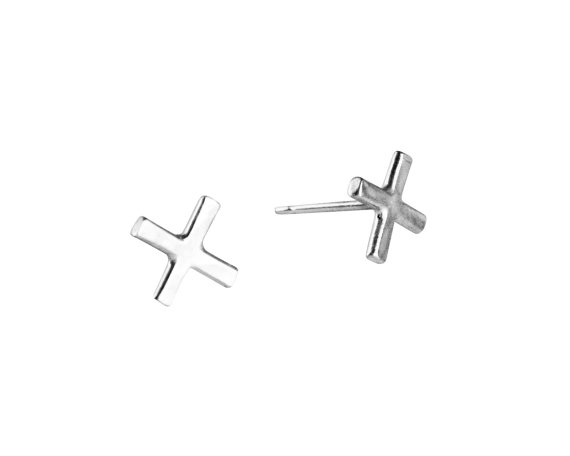 Silver X Studs Small Earrings Shaped Sterling Posts Simple