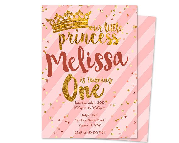 Princess 1st Birthday Invitation Girl