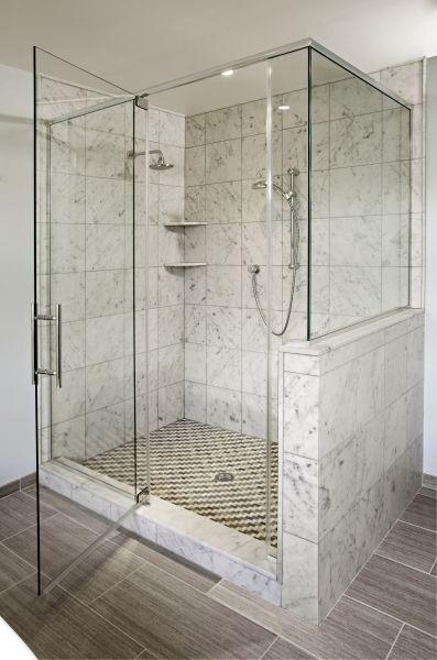 A Custom Larger Shower Featuring Honed White Carrara