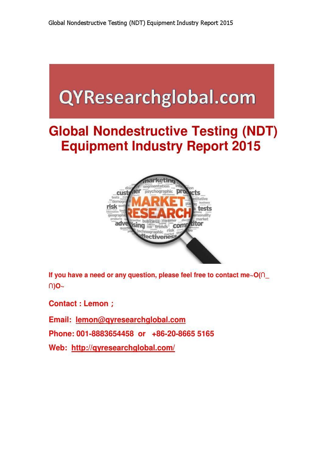 Global nondestructive testing (ndt) equipment industry report 2015