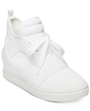 1fd8ea716f6 Steve Madden Women's Lexi Flyknit Wedge Sneakers - White 8.5M ...