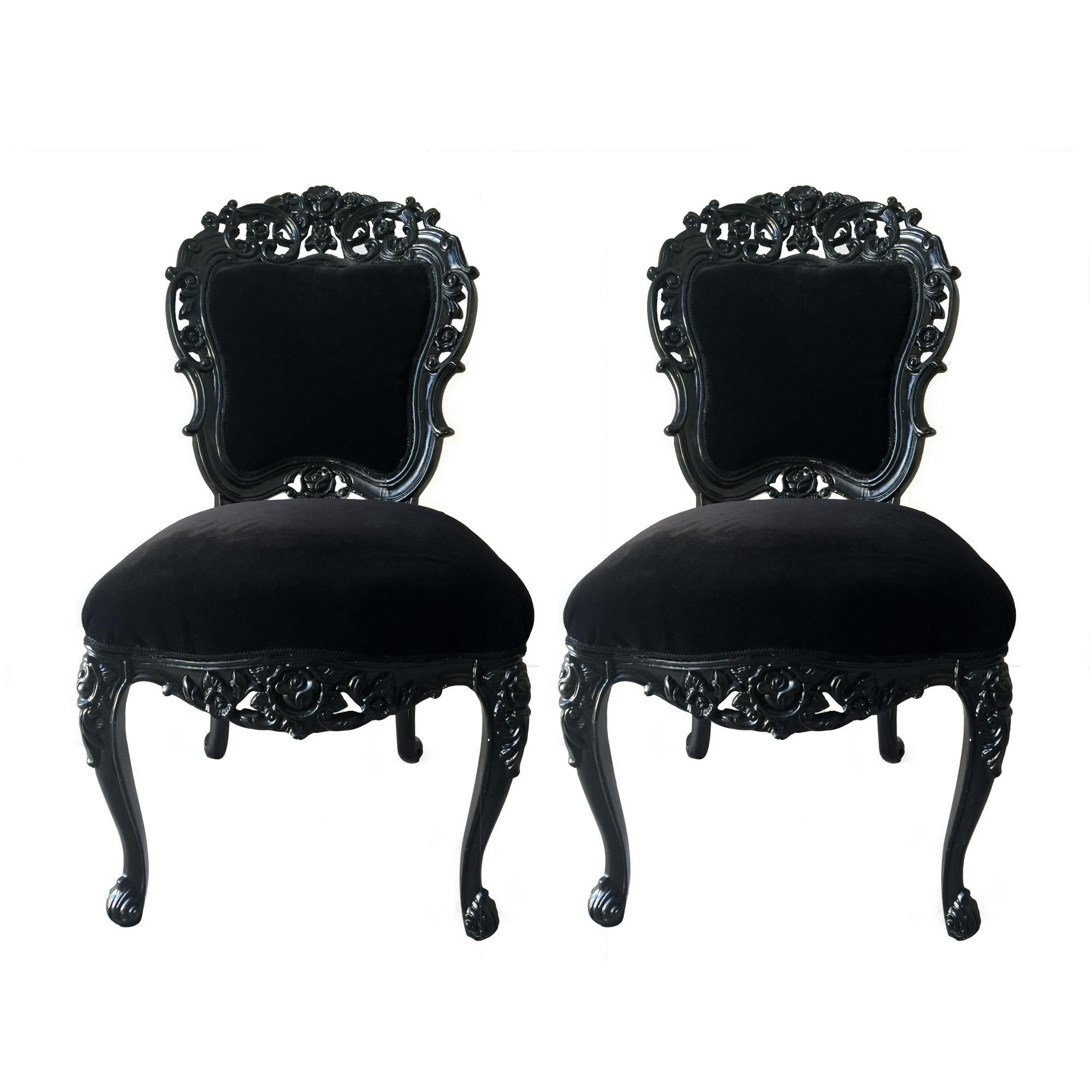 Vintage French Baroque Carved Glossy Black Chairs on Chairish.com