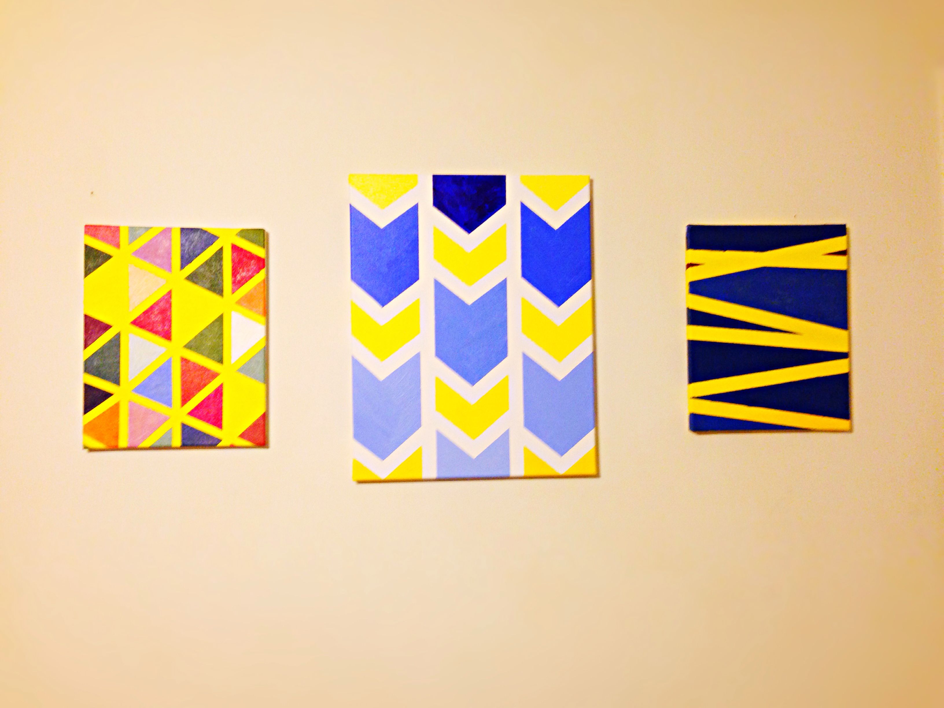 My painting collection is complete! I used canvas, drafting tape and ...