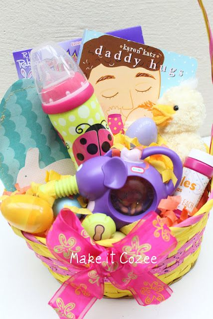 Make it cozee whats in your basket basket for kids ideas this would be a cute gift for a baby born close to easter a basket filled with things for baby and mommy negle Image collections