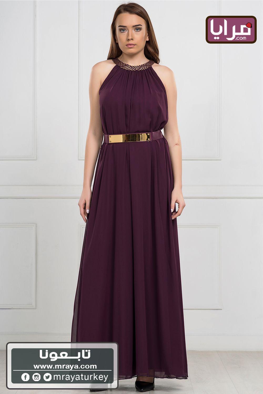 (44$)فستان مكسي عنابي اللون
