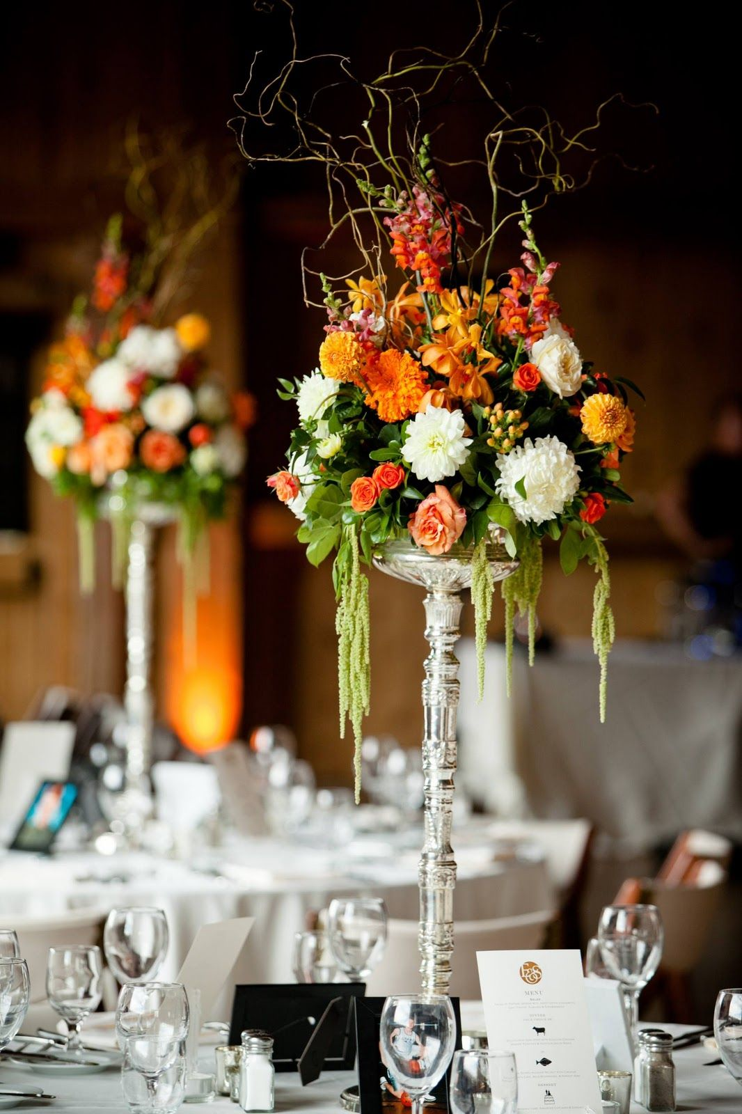 Diy tall wedding centerpieces while the long tables had
