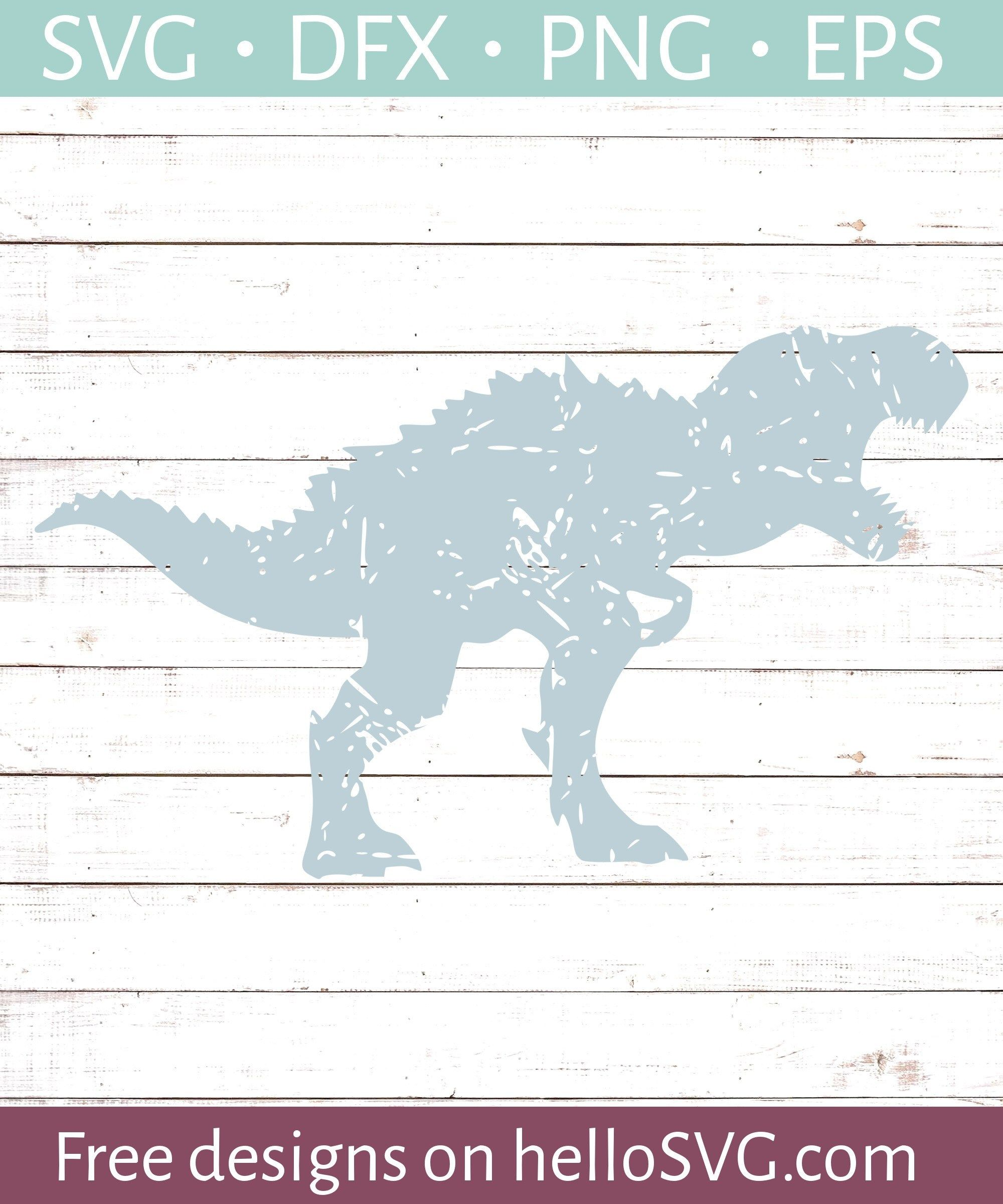 Trex Dinosaur - Distressed SVG - Free SVG files | HelloSVG com