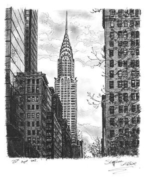 Chrysler Building In 2020 New York Drawing Urban Landscape New