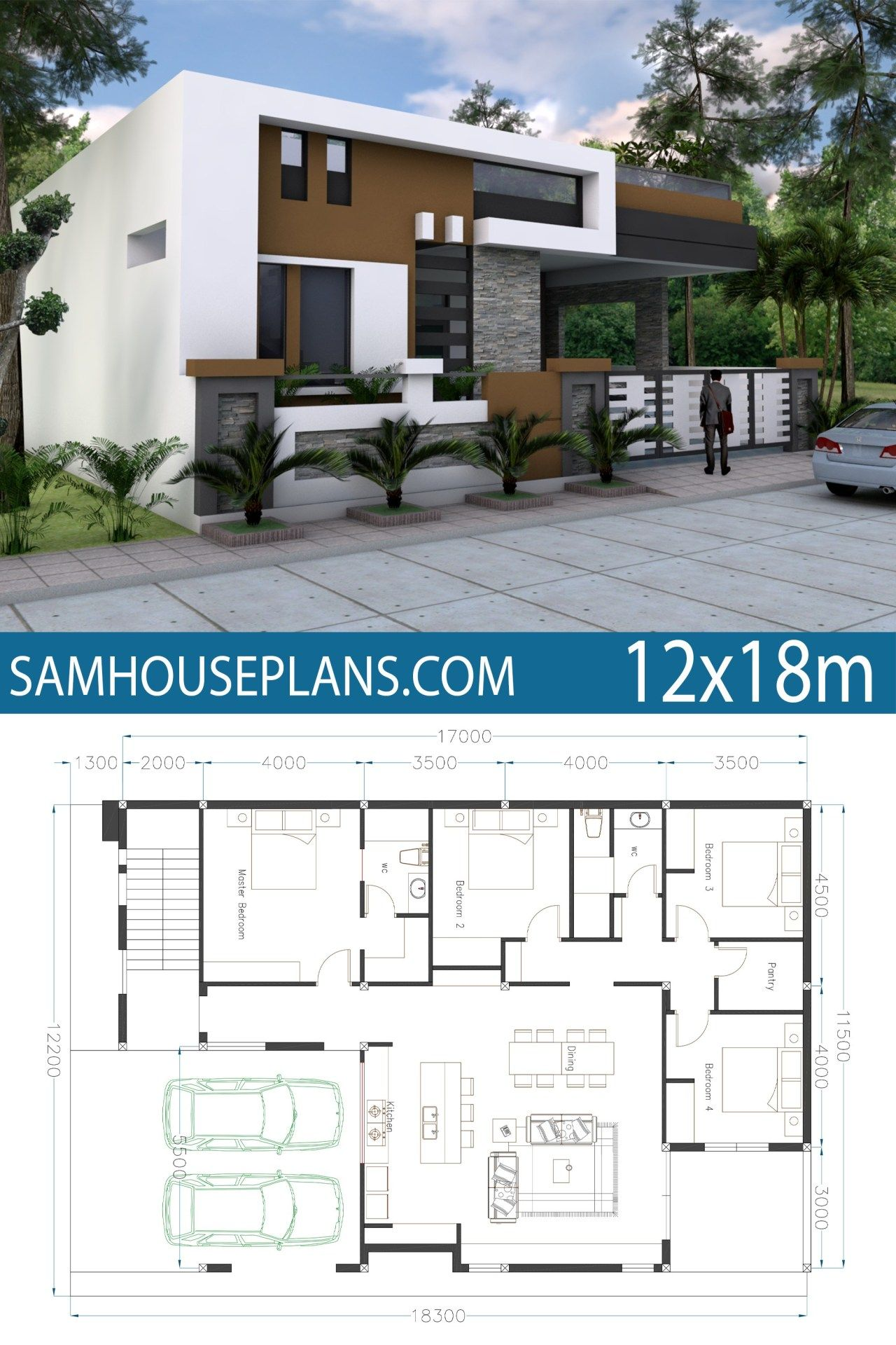 Home Design 40x60f With 4 Bedrooms Plan Architecture Maison