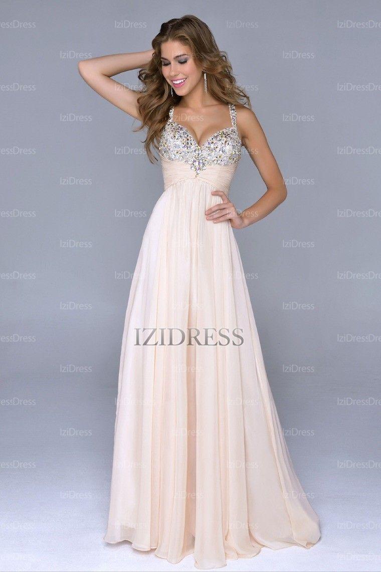 957819e2db89 A-Line Princess V-neck Straps Chiffon Floor-length Prom Dress -  IZIDRESSES.com at IZIDRESSES.com