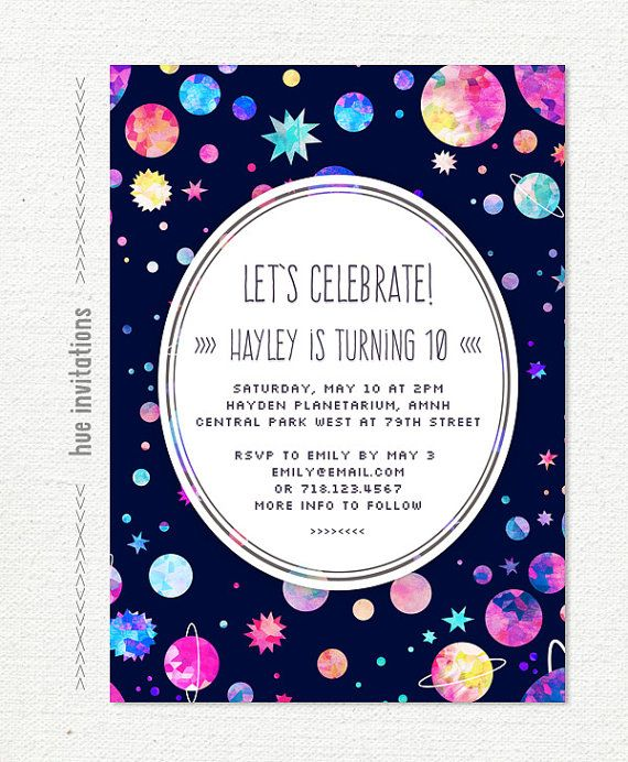 Space birthday party invitation 10th birthday invitation for girls space birthday party invitation 10th birthday invitation for girls planets stars watercolor digital invitation 5x7 jpg pdf 599 filmwisefo