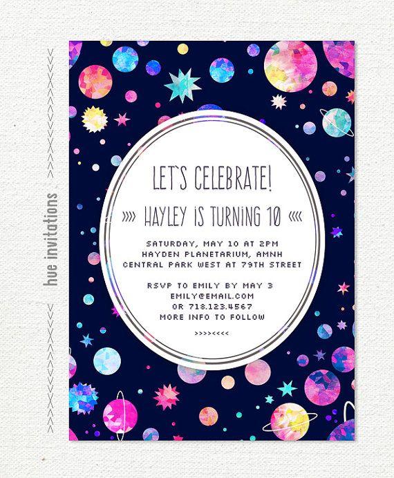 Girls Science Birthday Party Invitations Supernova STEM Space – Space Party Invitations