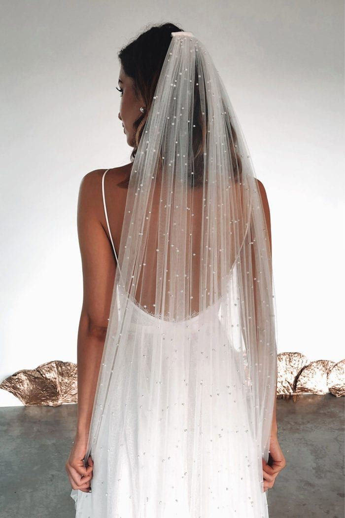 Pearly Long Veil | Bridal Veil with Pearls | Grace Loves Lace