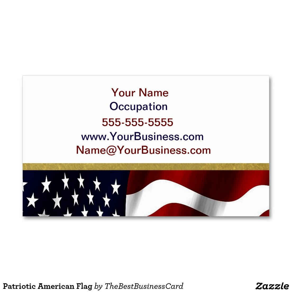 Patriotic American Flag Double-Sided Standard Business Cards (Pack ...