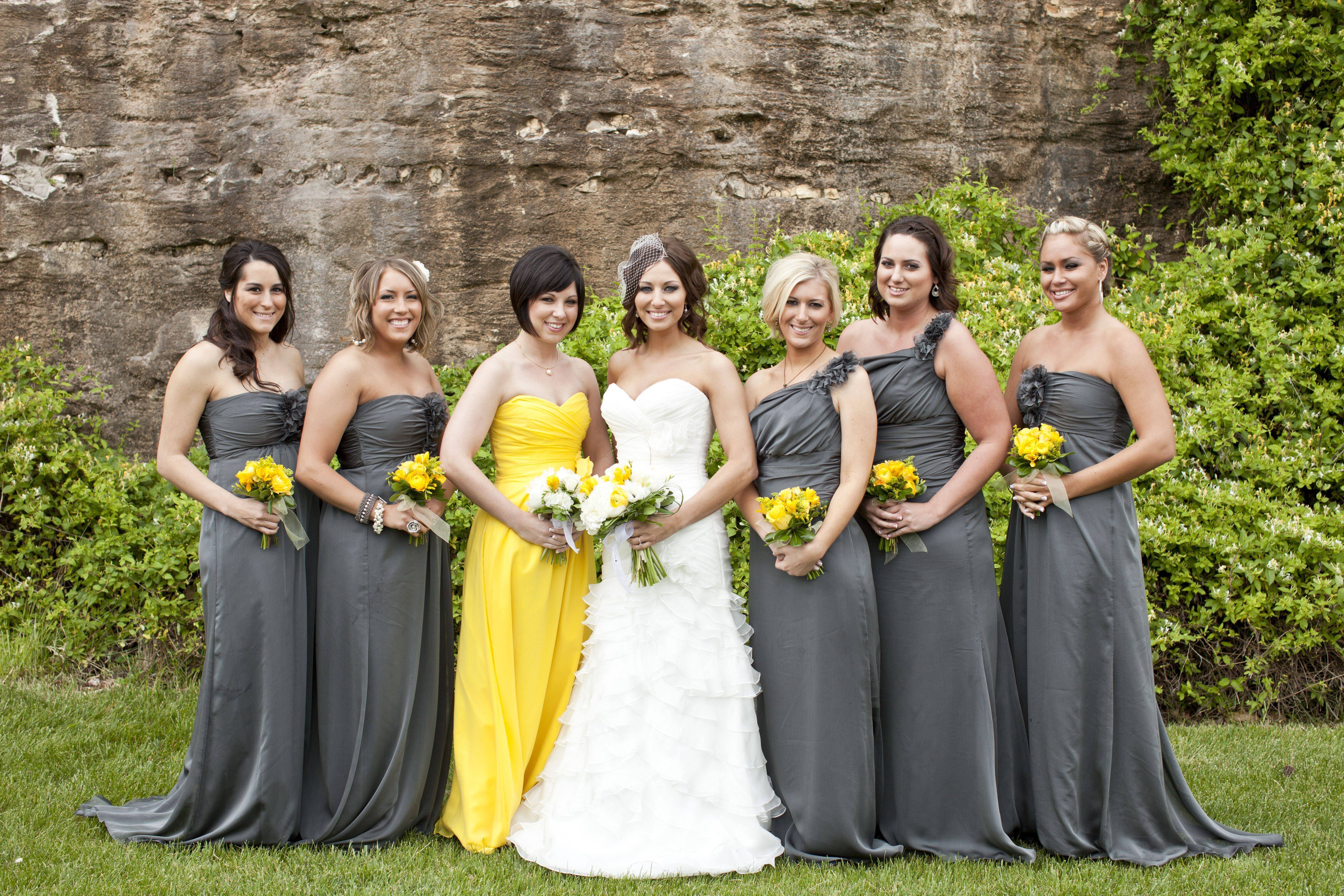 grey and yellow bridesmaid dresses