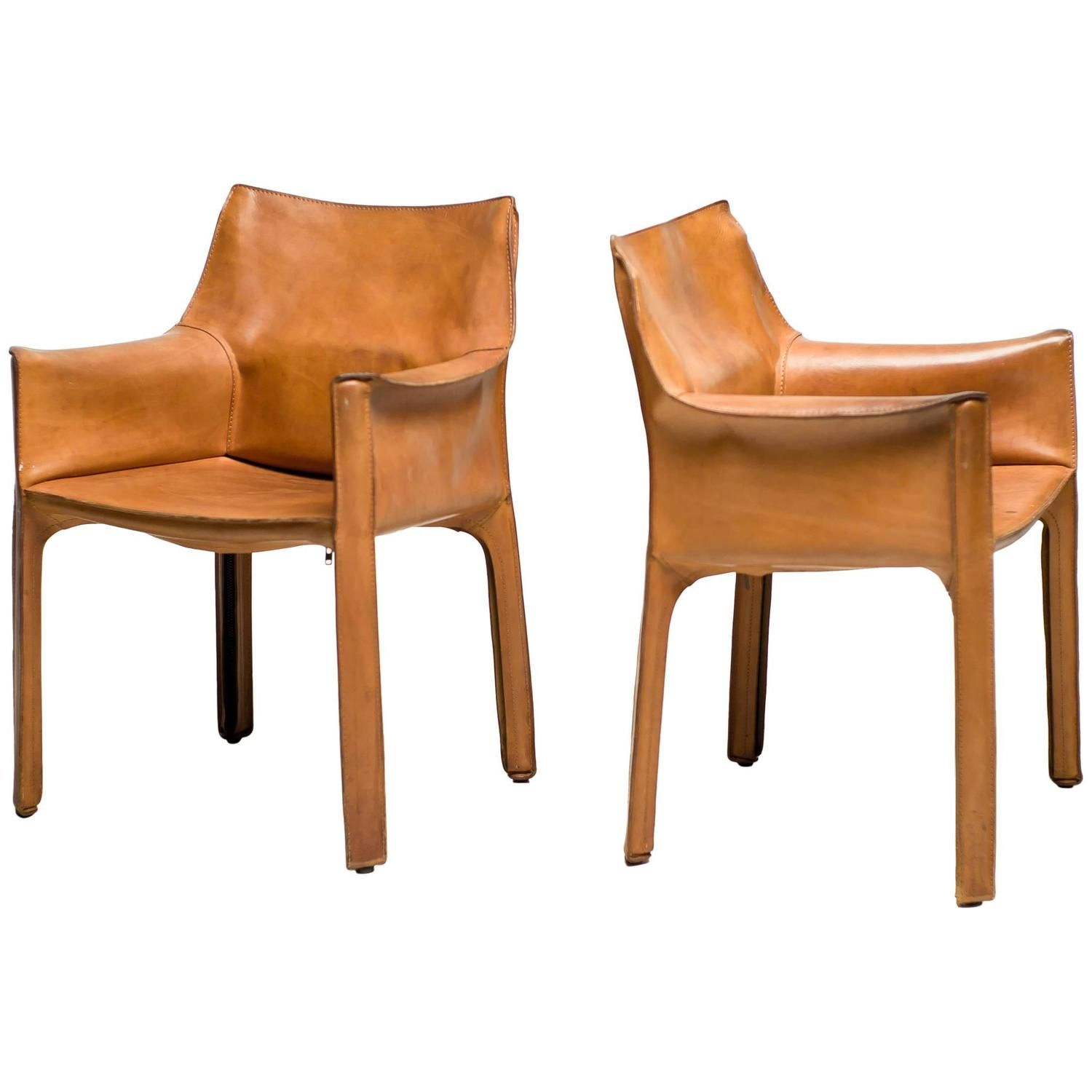 Pair Of Mario Bellini Saddle Leather Cab Chairs Cassina Italy