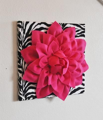 Hot Pink Wall Hanging Dahlia On Black And White Damask Print 12 X12