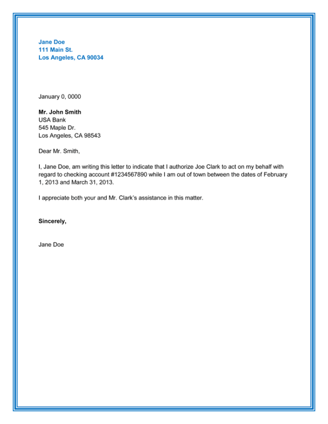 Authorization Letter Sample Printable Formats Mla Format Example