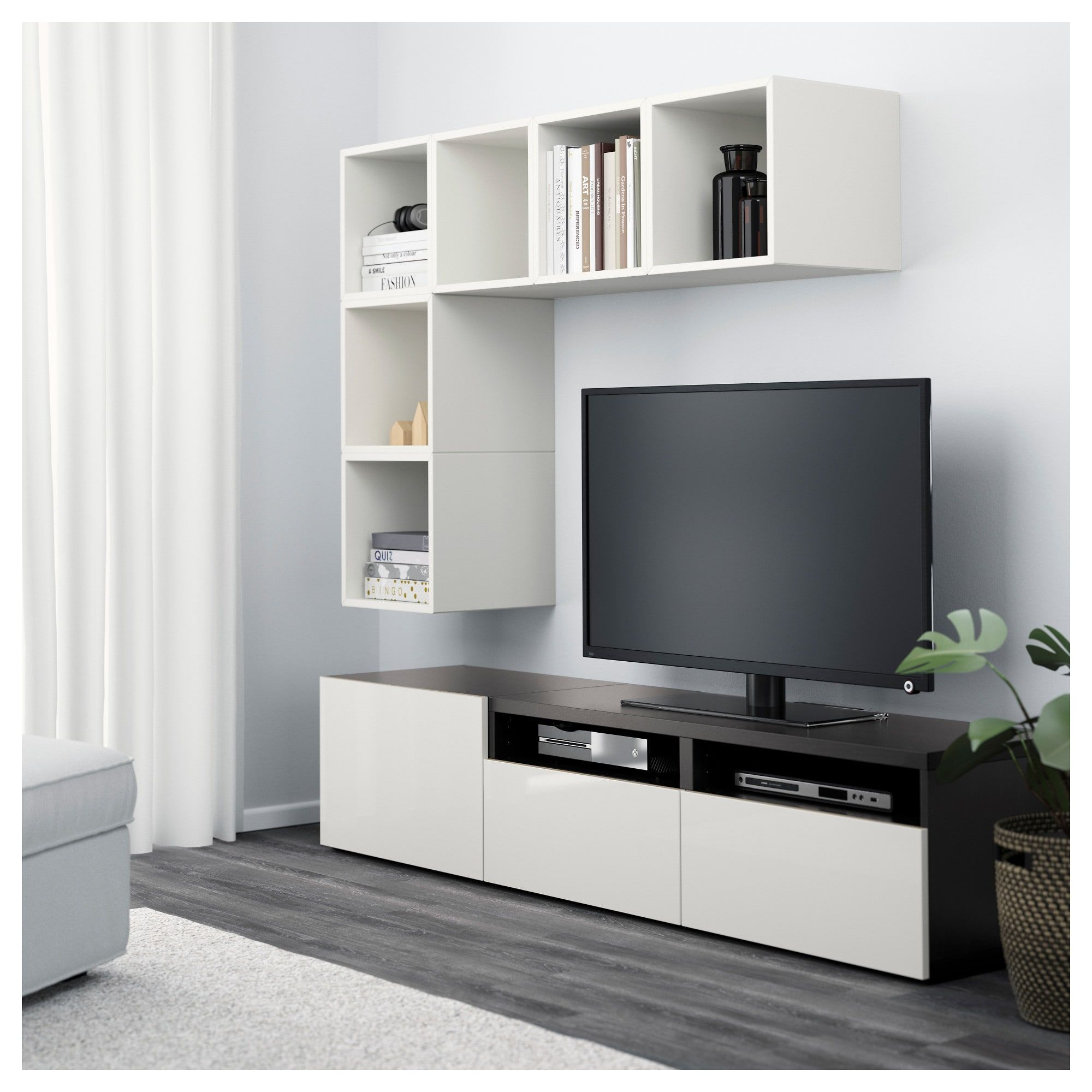 Tv Kast 70 Cm.Besta Eket Tv Storage Combination White Black Brown High