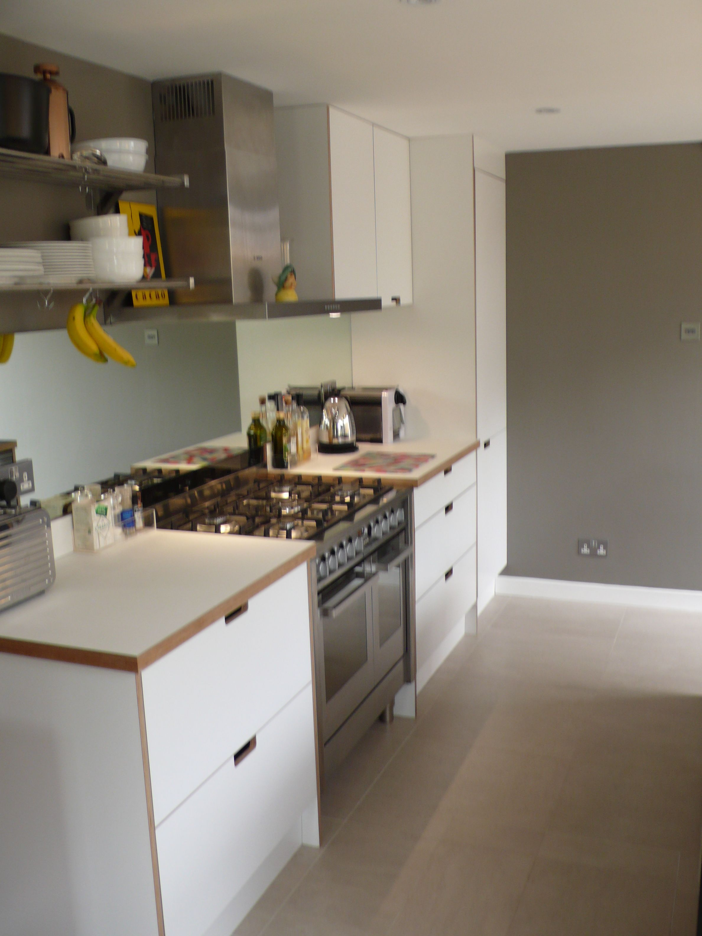 Lovely White Birch Ply And Formica Kitchen With Grab Handles Kitchen Handles Kitchen Kitchen Furniture