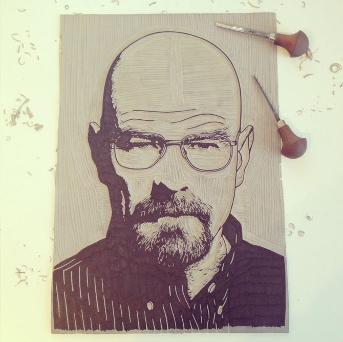 Linoleumboden Bad heisenberg linocut before printing by c thurbin http