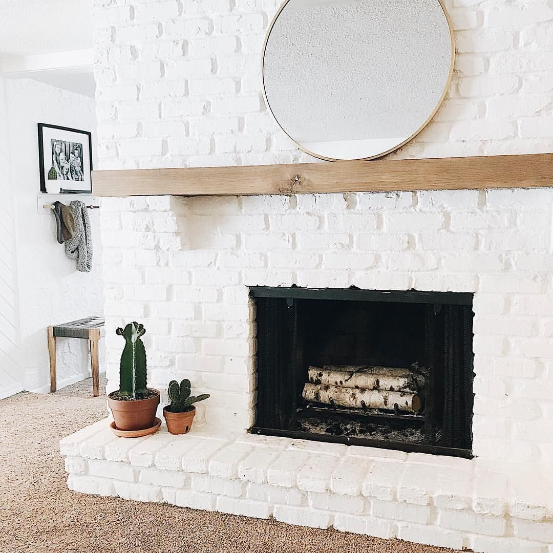 Restoring Home Brick Fireplace White Brick Wood Mantle Terra