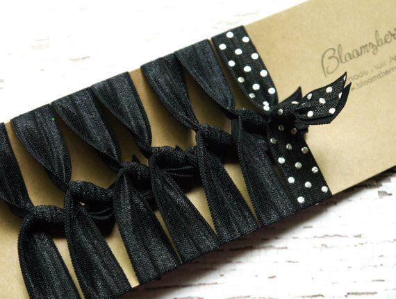 7 Pcs Elastic Hair Tie Black W Black Silver Dots Black
