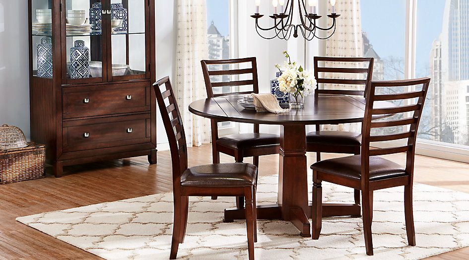 Riverdale Cherry 5 Pc Round Dining Room From Furniture Rooms To Go Furniture Dining Room Sets Round Dining Room