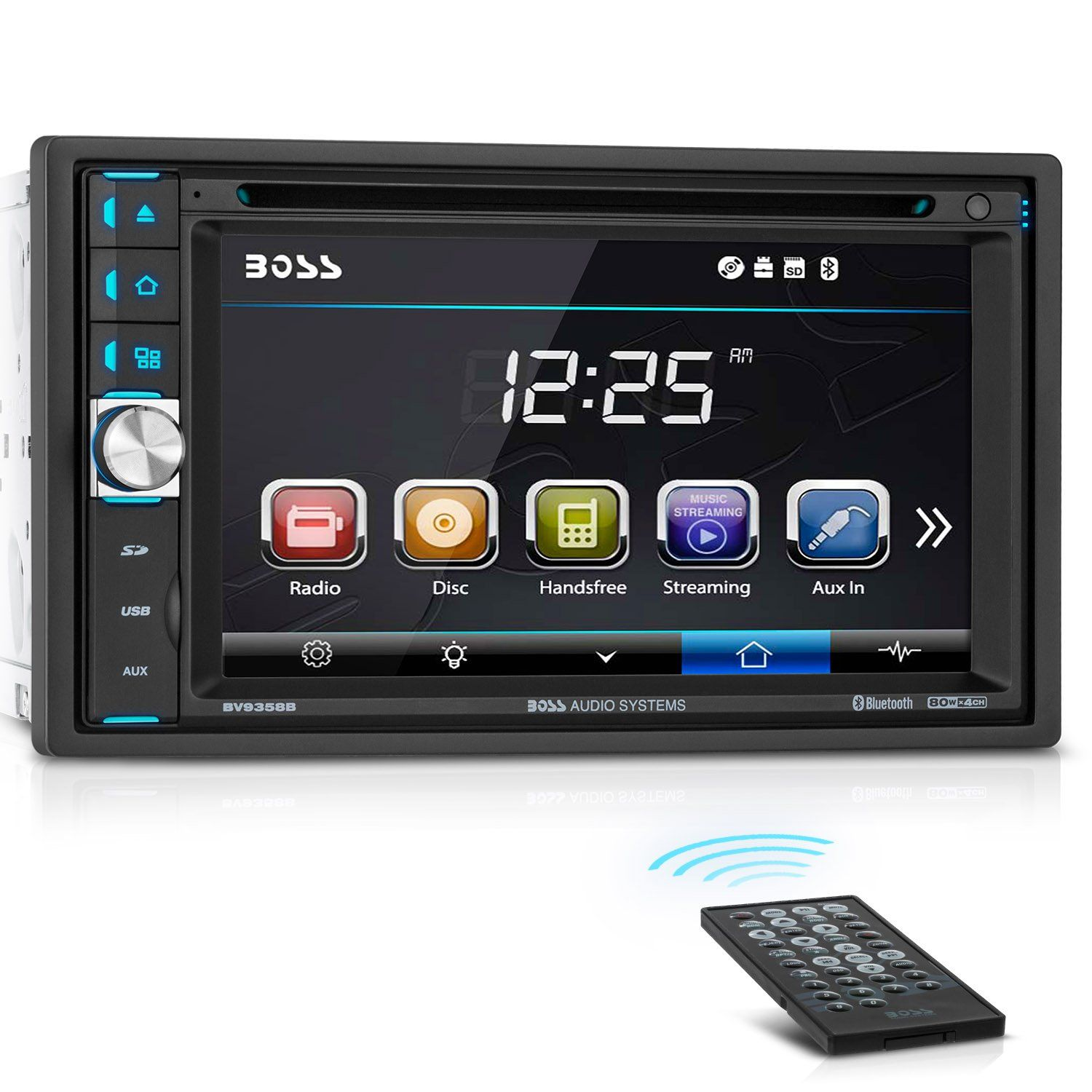 Boss Audio Bv9358b Car Dvd Player Double Din Bluetooth Audio And Calling 6 2 Inch Lcd Touchscreen Touch Screen Car Stereo Boss Audio Double Din Car Stereo