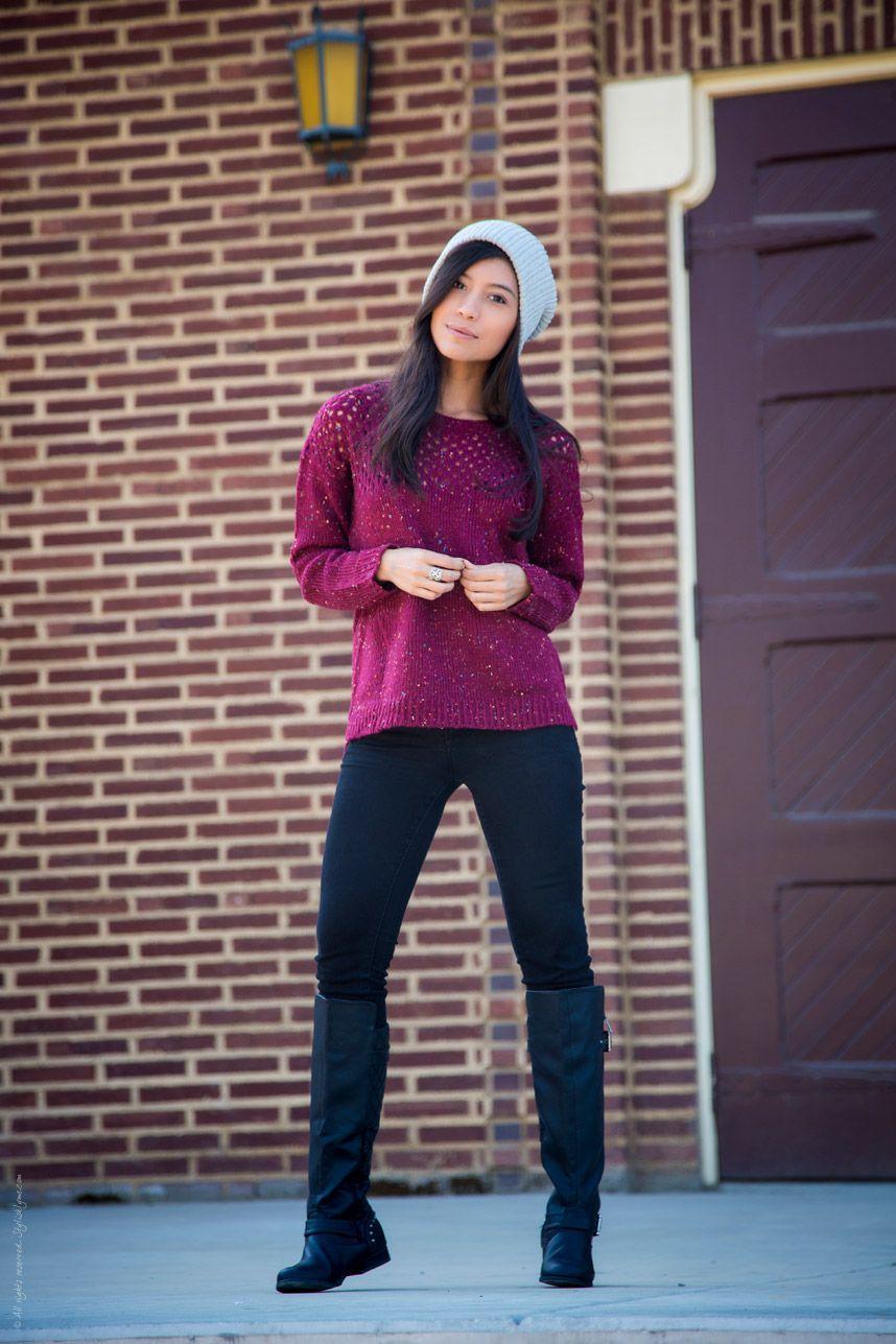 6e4c96530c Long Sleeve Burdungy Knitted Sweater - Stylishlyme