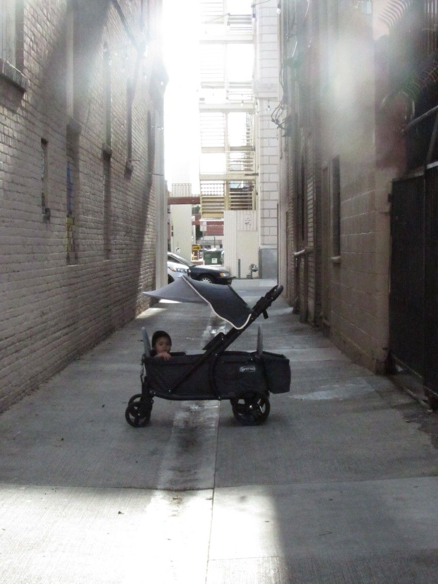 The pronto stroller fits two kids and has