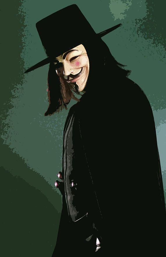 V For Vendetta Illustration 2 Comicbook Superhero Etsy V For Vendetta Superhero Pop Art V For Vendetta Poster