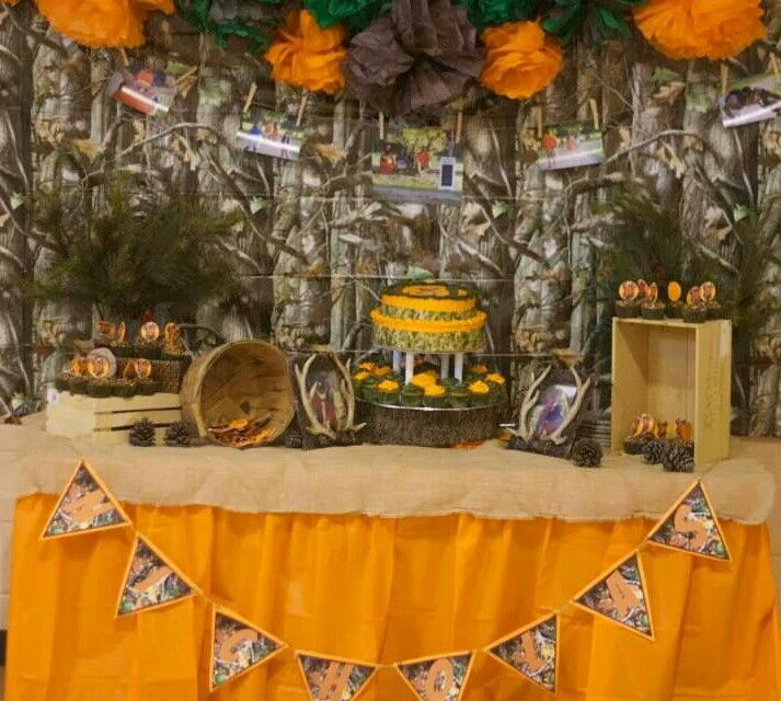 Hunting Theme Cake Table Set Up. Decorations