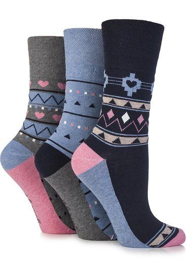 e5be0a0d9bf95 Gentle Grip Ladies 3 Pair Hermione Aztec and Heart Patterned Cotton Socks 4-8  Ladies Black: Amazon.co.uk: Clothing