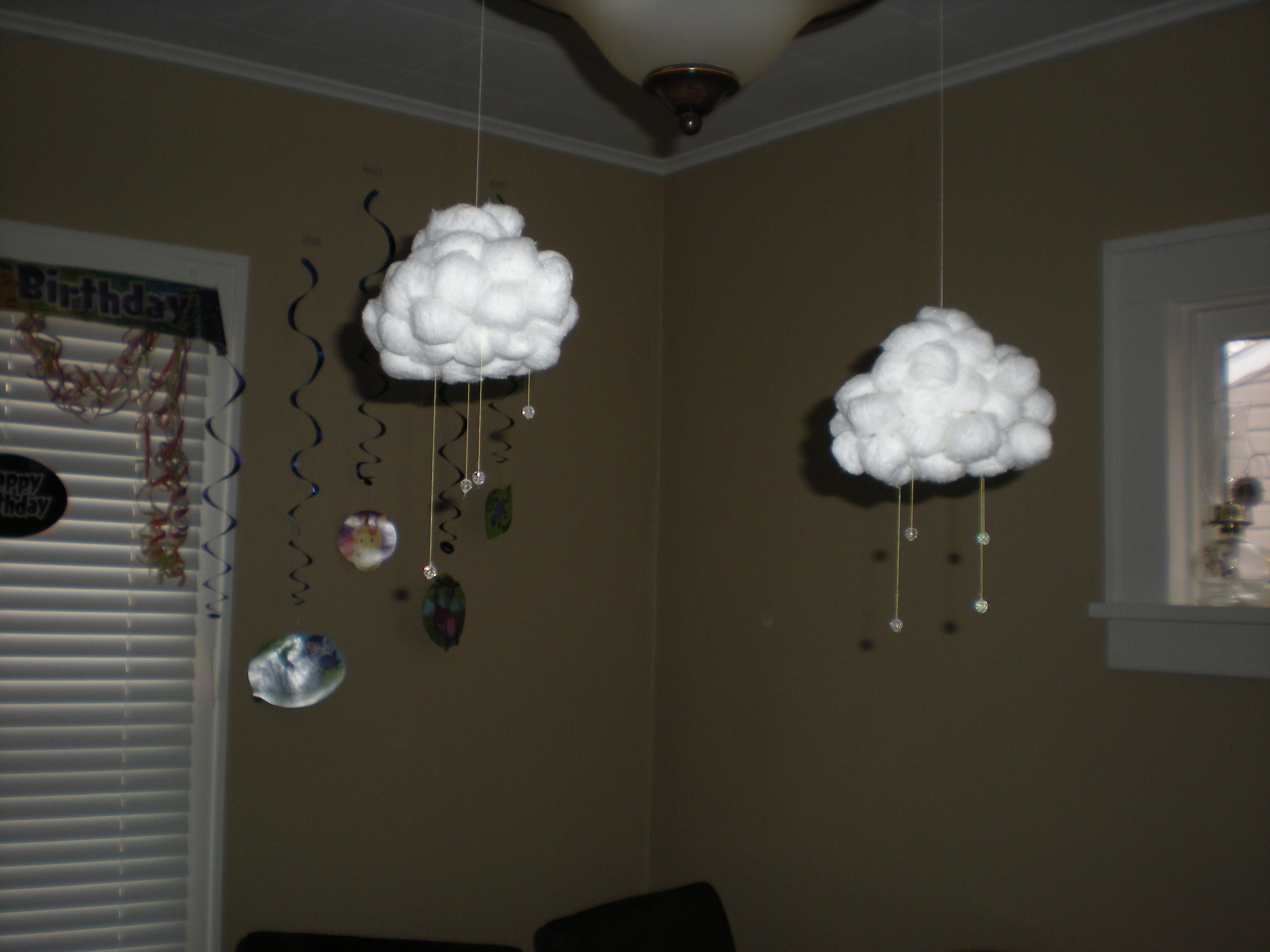 Clouds with rain drops - ping pong balls, cotton balls, thread and glass beads