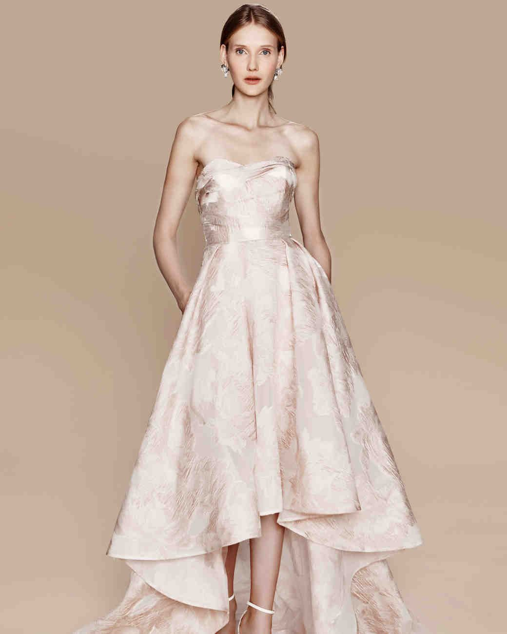 425fd2129b Marchesa Notte Fall 2017 Wedding Dress Collection | Martha Stewart Weddings  – Blush strapless fil coupé gown with draped bodice and high-low skirt and  ...