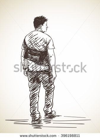 Stock Images Similar To Id 270540776 Sketch Of Old Man Walking Human Figure Sketches Hand Drawn Vector Illustrations Old Man Walking