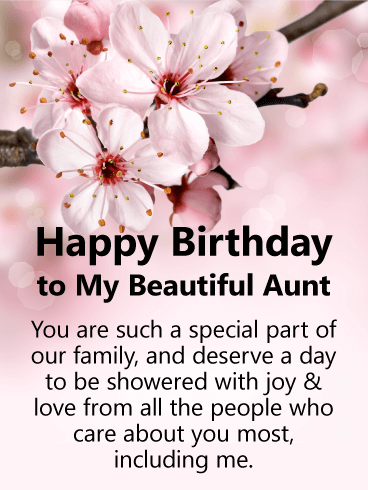 Cherry Blossom Happy Birthday Card For Aunt This Thoughtful