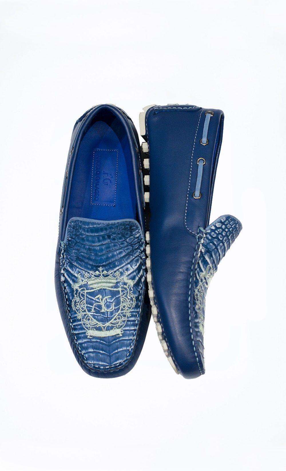 vente chaude en ligne 4b4dc d17e8 Blue Mocassin with Vintage Caiman Detail. BUY IT ONLINE NOW ...