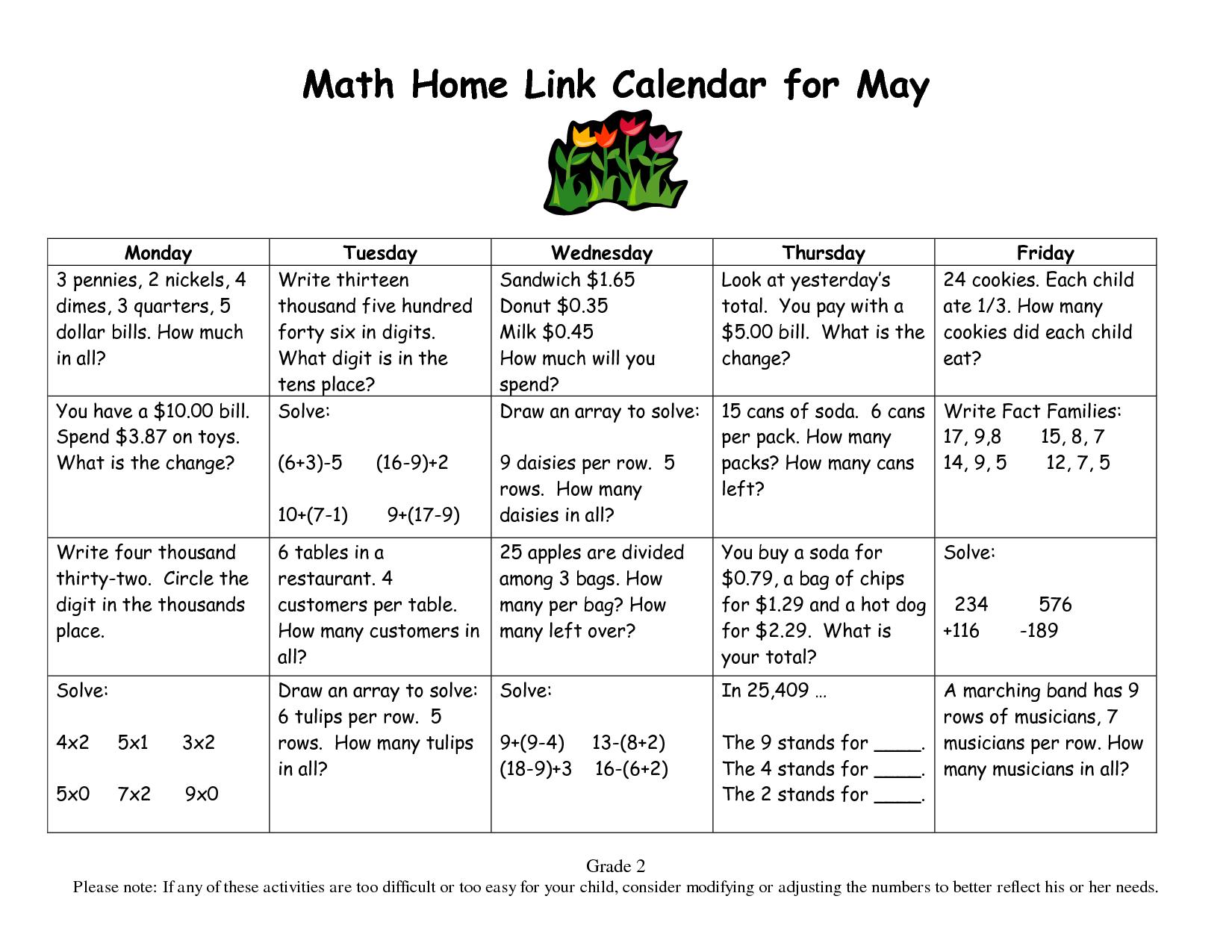 Worksheets Everyday Math Grade 2 Worksheets calendar math for third grade 2 everyday home link may