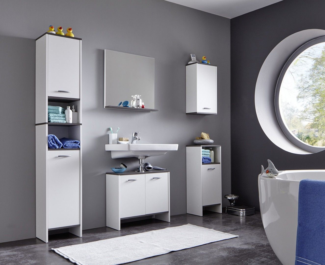 Ensemble de salle de bain contemporain blanc Toscane | Salle ...