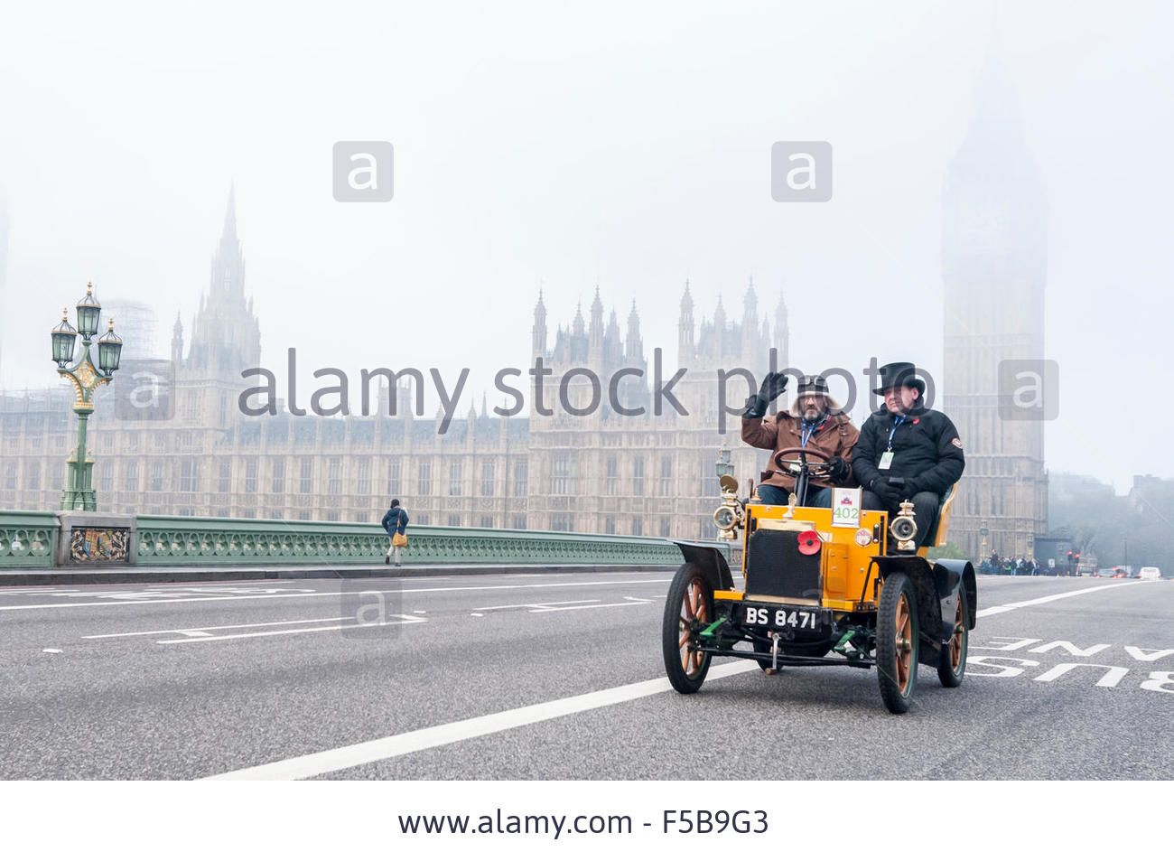 London, UK. 1 November 2015. #Vintage cars pass over Westminster ...