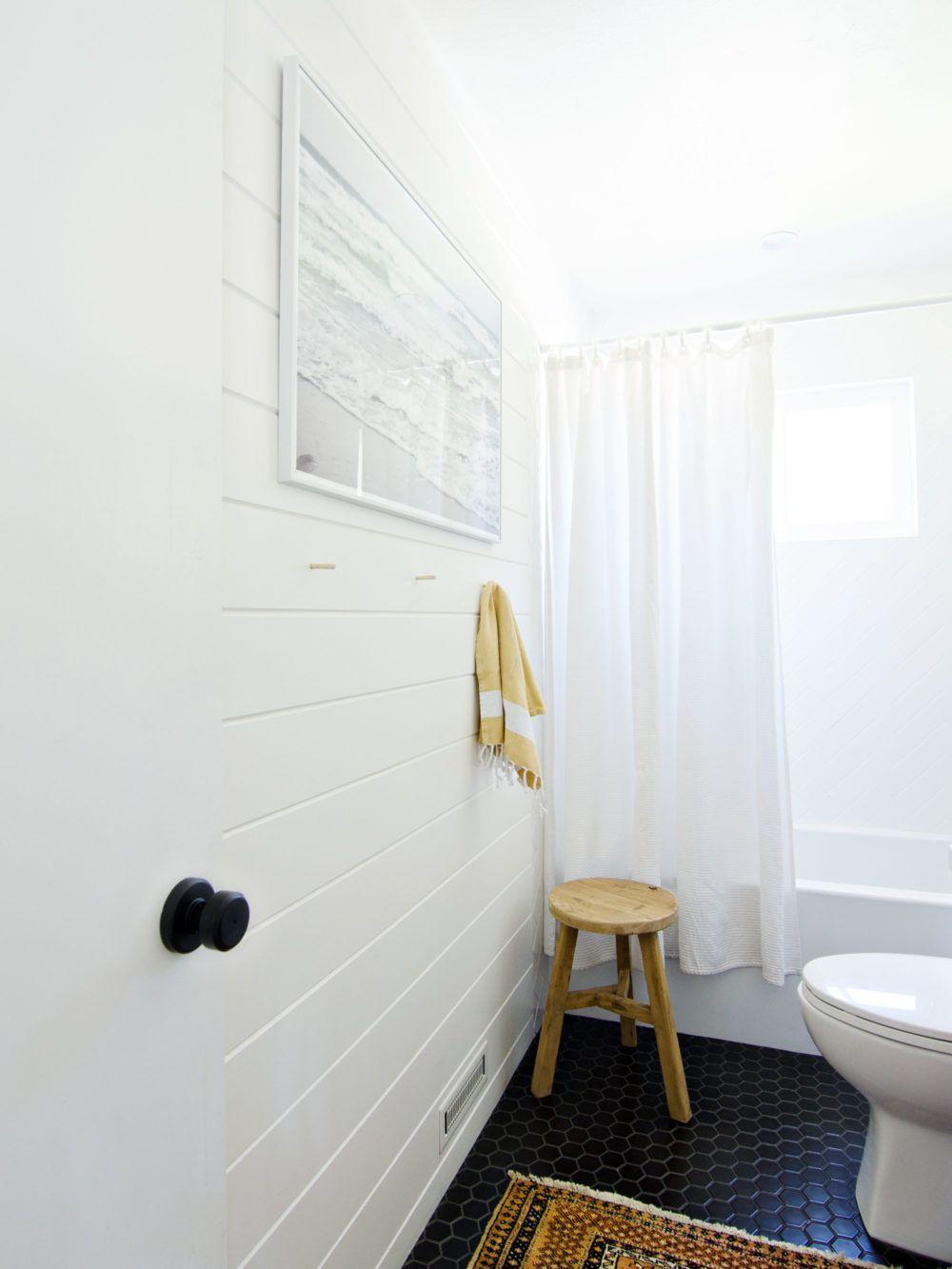 Wood White + Gold Bathroom Remodel - Shiplap wall | shiplap ...