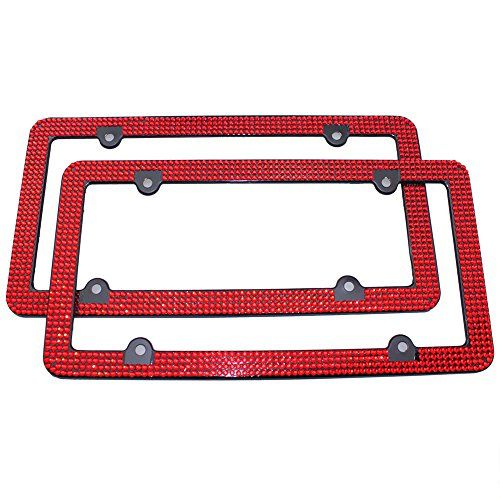 TASIRO 8 Row Pure Handmade Bling Bling Aluminum Car License Plate Frame with 4 Holes Bonus Matching Screws Caps Red 2 PACK *** You can find more details by visiting the image link.Note:It is affiliate link to Amazon.