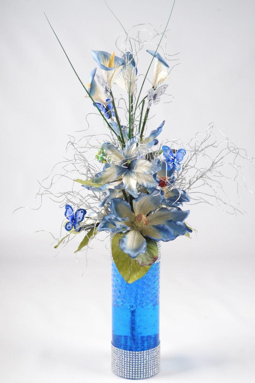 Diy 26 magnolias and lilies w butterflies centerpiece for Midnight blue centerpieces