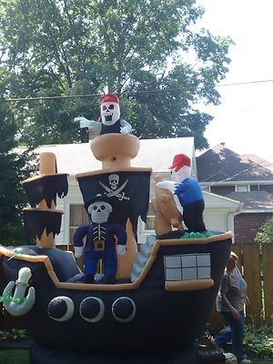 halloween inflatable skeletons on pirate ship yard decoration air blown ebay - Halloween Inflatable Yard Decorations