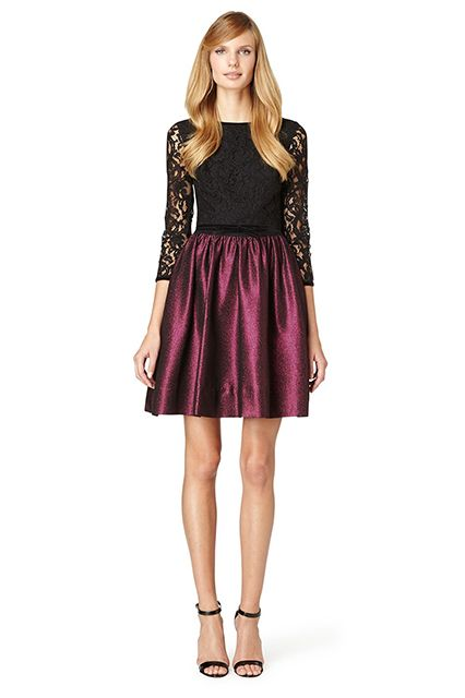 """""""Lace and metallic is a tried and true holiday combo. I love this Erin Fetherston dress, with its sheer, lace sleeves and orchid-colored, metallic skirt. It's the perfect holiday dress!"""" — Mara Ferreira, M Loves M"""