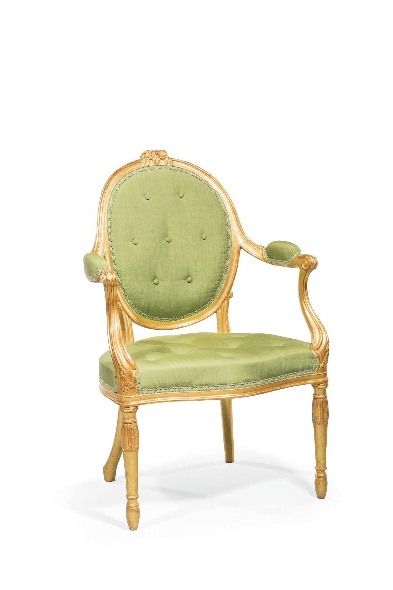 A George III giltwood open armchair, in the manner of John Linnell, circa 1770