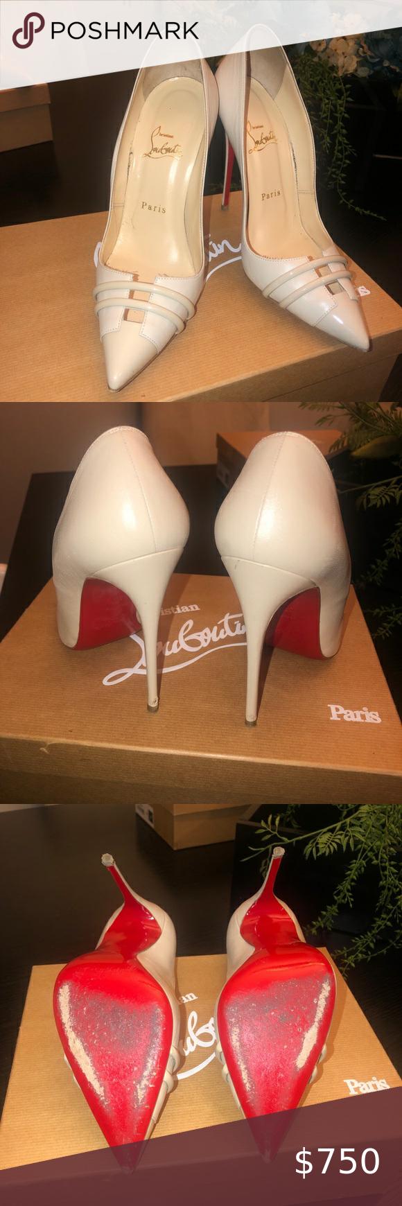 Christian Louboutin front double 120 colombe heels Beautiful christian louboutin...